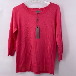 Joseph A. Pink Sweater with Scalloped Neck Size M